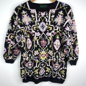 VTG Cullinane Hand Knit Floral Heavy Sweater Small